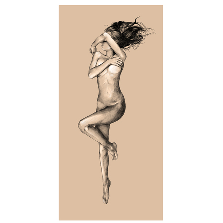 Ilustración de Nude girl on a beige background, sketch vector, graphics color picture - Imagen libre de derechos