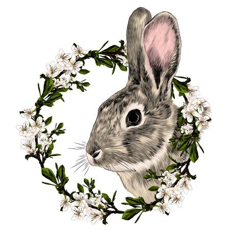 Illustration pour Rabbit in a frame of the tree sketch graphic illustration. - image libre de droit