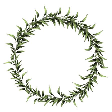 Illustration for Eucalyptus leaf branch frame design. - Royalty Free Image