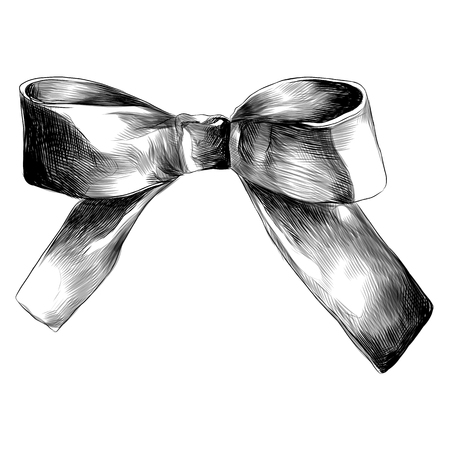 Ilustración de bow decoration on the neck red sketch vector graphics monochrome black - and- white drawing - Imagen libre de derechos