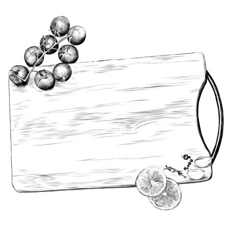 Illustration pour tomatoes lemon garlic seasoning cutting Board sketch vector graphics monochrome black-and-white drawing - image libre de droit