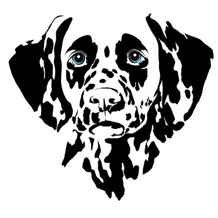 Ilustración de Dalmatian dog head sketch vector graphics color picture - Imagen libre de derechos