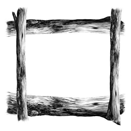 Ilustración de Wooden frame sketch vector graphics monochrome black-and-white drawing - Imagen libre de derechos