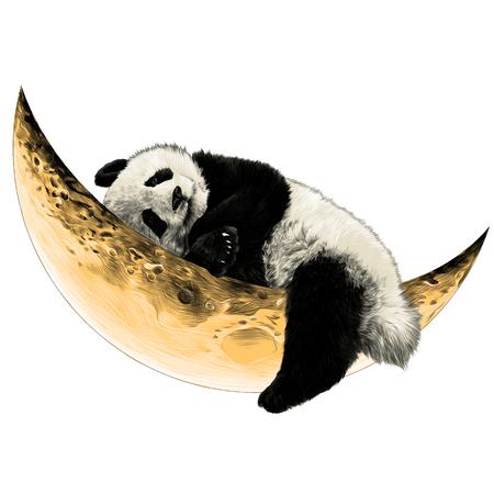 Illustration pour Panda lying on the Crescent moon sketch vector - image libre de droit