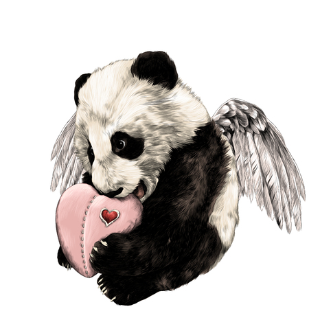 Illustration pour Panda with wings sits and holds in paws heart sketch vector graphics color picture - image libre de droit