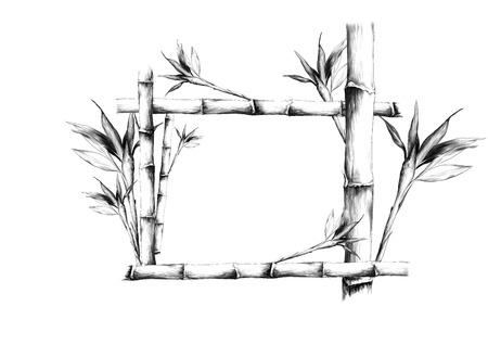 Ilustración de Leaves branches stem bamboo pattern flowers texture frame seamless sketch vector graphics monochrome black-and-white drawing - Imagen libre de derechos