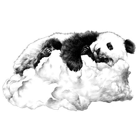 Ilustración de Panda sleeping on the cloud sketch vector graphics monochrome drawing - Imagen libre de derechos