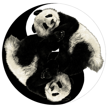 Ilustración de Two pandas are on the sign Yin-Yang sketch graphics colored picture - Imagen libre de derechos