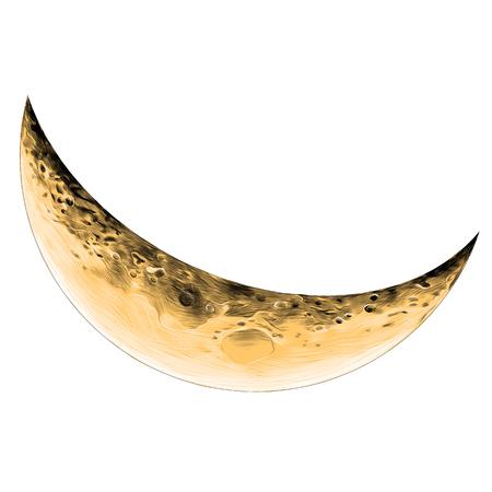 Ilustración de Moon Crescent sketch vector graphics color picture - Imagen libre de derechos