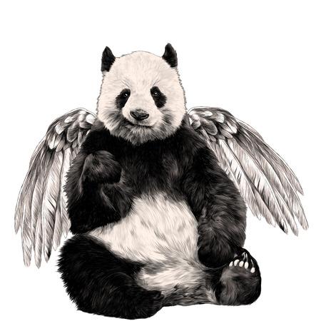 Illustration pour Panda with wings sitting sketch graphics colored picture - image libre de droit