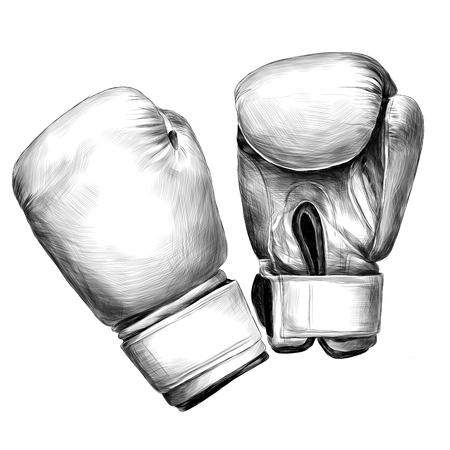 Illustration pour Boxing gloves sketch vector graphics monochrome black-and-white drawing - image libre de droit