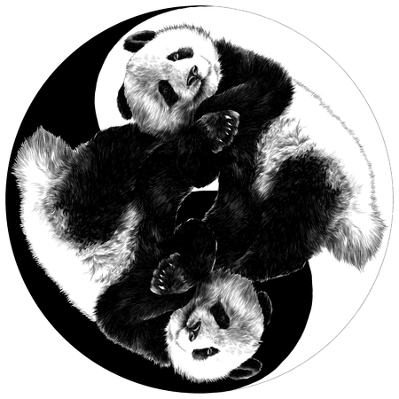 Ilustración de two pandas are on the sign Yin-Yang sketch vector graphics monochrome drawing - Imagen libre de derechos
