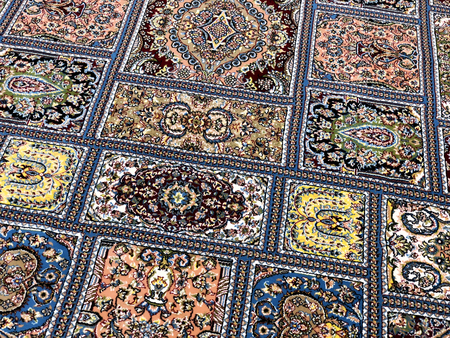 Foto de carpets woven by hand with colorful patterns of beautiful hard work and a lot of small details - Imagen libre de derechos