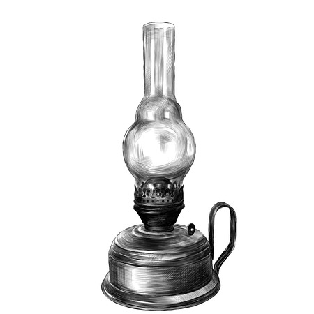 Illustrazione per old rustic kerosene lamp sketch vector clip art graphics monochrome drawing - Immagini Royalty Free