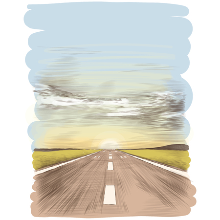 Illustration pour A postcard with the image of the runway, sketch vector graphics color picture - image libre de droit