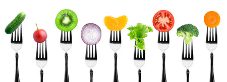 Photo pour Fruits and vegetables on the forks. Healthy food - image libre de droit