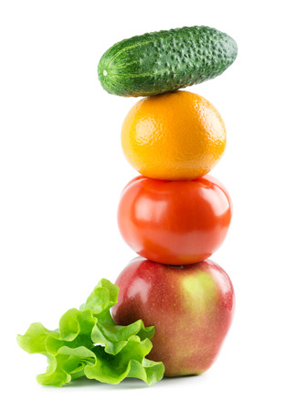 Photo pour Healthy fresh fruits and vegetables on white background - image libre de droit