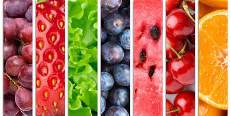 Photo for Collection with different fruits, berries and vegetables - Royalty Free Image