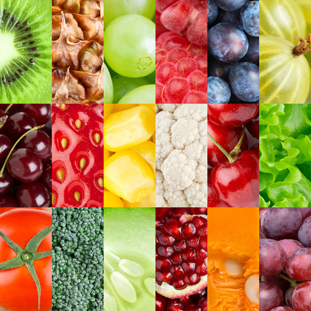 Photo pour Collection of healthy fresh fruits and vegetables backgrounds - image libre de droit