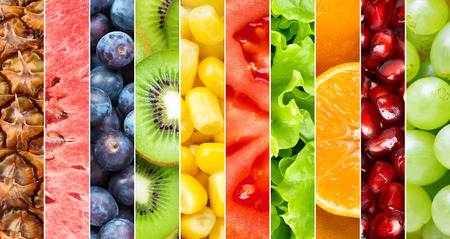 Photo pour Healthy food background. Collection with different fruits, berries and vegetables - image libre de droit