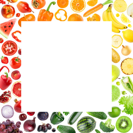 Collection of fruits and vegetables on white background. Food concept