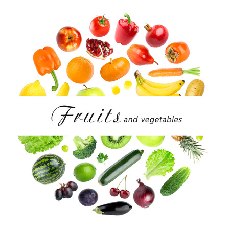 Foto per Collection of fruits and vegetables on white background. Fresh food - Immagine Royalty Free