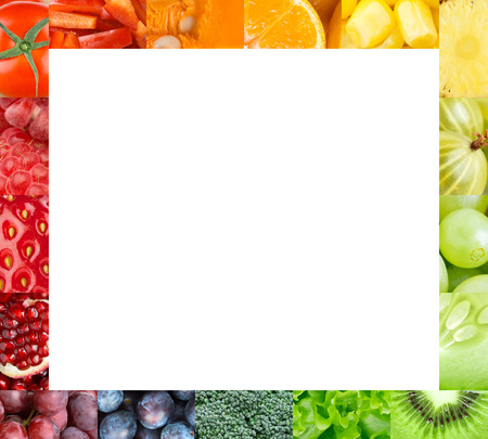 Photo pour Fresh fruits and vegetables frame. Food concept - image libre de droit