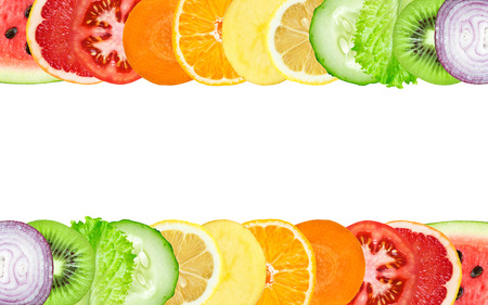 Foto für Color fruit and vegetable slices on white background. Food concept - Lizenzfreies Bild