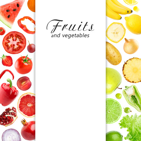 Mixed fruits and vegetables. Food concept