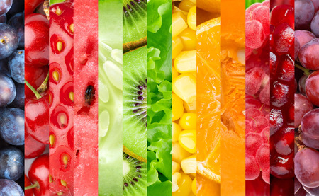 Photo pour Healthy food background. Collection with color fruits, berries and vegetables - image libre de droit