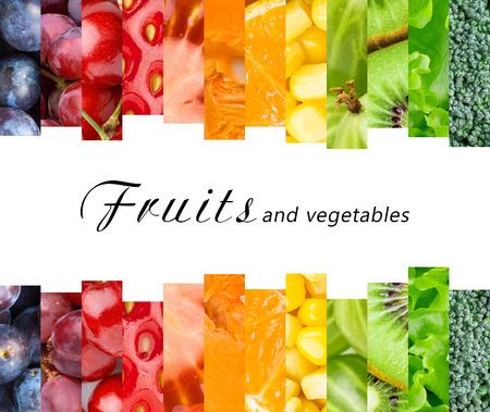 Photo pour Fresh fruits and vegetables. Healthy food concept - image libre de droit