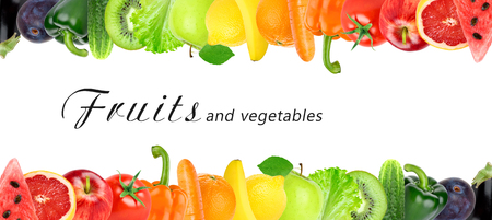 Photo pour Fresh color fruits and vegetables. Healthy food concept - image libre de droit