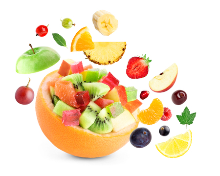 Photo for Healthy fruit salad on white background - Royalty Free Image