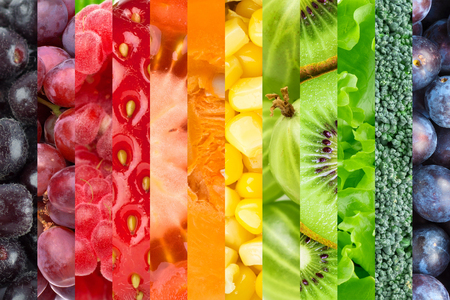 Photo for Collage with fruits and vegetables. Fresh food background - Royalty Free Image