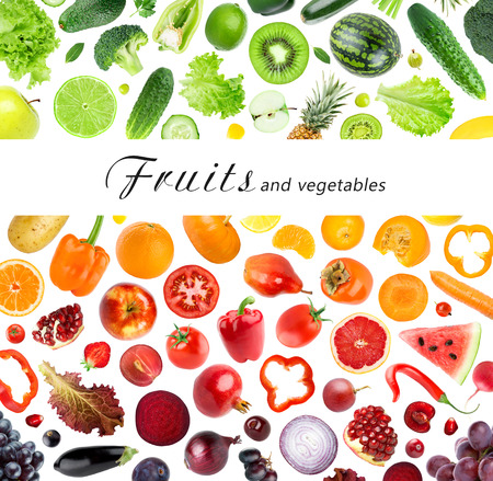 Foto für Collection of fruits and vegetables on white background. Fresh food - Lizenzfreies Bild