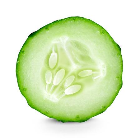 Photo pour Cucumber slice closeup on white background - image libre de droit