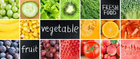 Photo pour Healthy fresh food. Fruits and vegetables background - image libre de droit
