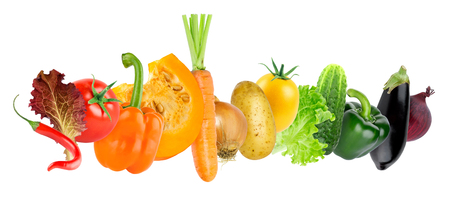 Color fresh vegetables on white background. Food concept