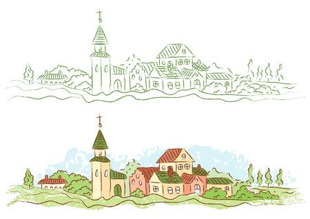 Ilustración de Illustration of a small country town - Imagen libre de derechos