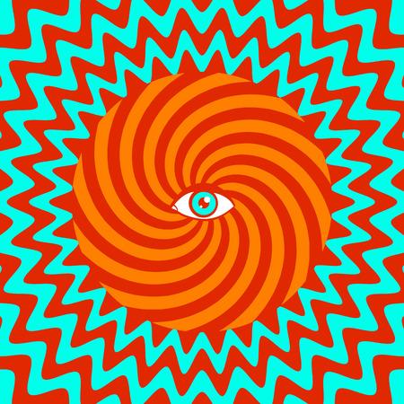 Ilustración de Color hypnotic retro poster with eye - Imagen libre de derechos