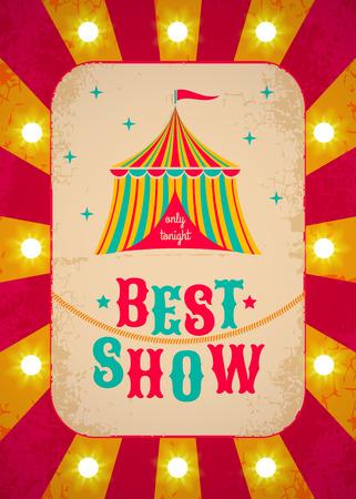 Illustrazione per Retro circus poster with tent - Immagini Royalty Free