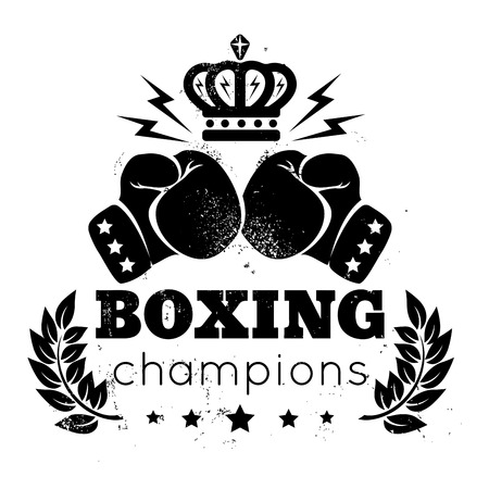 Vintage for boxing with gloves and crown