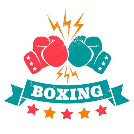 Ilustración de Vintage logo for a boxing on grunge background - Imagen libre de derechos