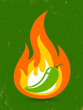 Illustration for Vintage vector illustration of a hot jalapeno pepper in fire - Royalty Free Image