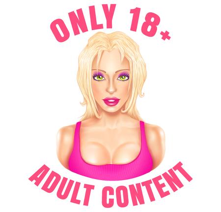 Ilustración de Vector web banner for adult content. Vector emblem with beautiful blonde girl adults only. - Imagen libre de derechos