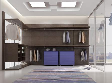 Foto de 3d render of luxury apartment dressing room interior - Imagen libre de derechos