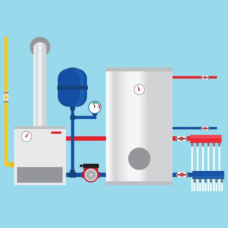 Illustration pour Gas boiler in the cottage. - image libre de droit
