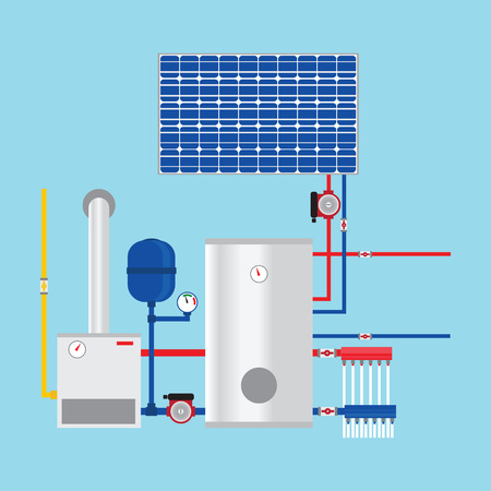 Illustration pour Gas boiler and solar panels. Eco-house. Vector. - image libre de droit