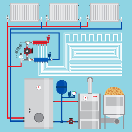 Illustration pour Energy-saving heating system.  Pellet boiler, heating systems with wood. Manifold with Pump. Green energy. Vector. - image libre de droit