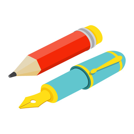Illustration pour Isometric fountain pen and pencil on white background. For web design and application interface, also useful for infographics.Vector illustration. - image libre de droit
